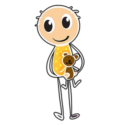 A sketch of a boy holding a toy vector image