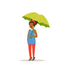 African american girl standing with open green vector