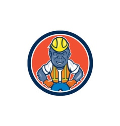 Angry Gorilla Construction Worker Circle Cartoon vector image