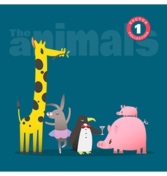 animals cartoon pig piglet giraffe rabbit penguin vector image