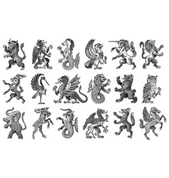 animals for heraldry in vintage style engraved vector image