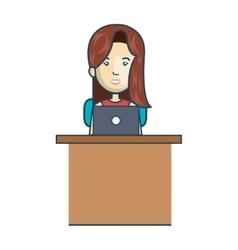 Avatar woman working laptop vector