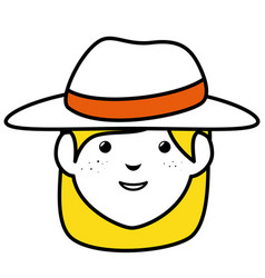 Beautiful and young woman with tourist hat vector