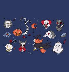 Big set spooky halloween cartoon characters vector