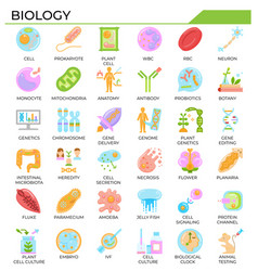 Biology and science flat design icon set vector