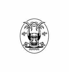 Black line art aloha badge vector