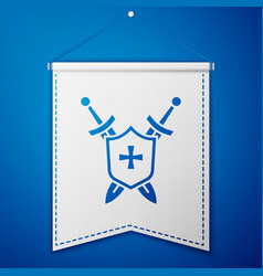 Blue medieval shield with crossed swords icon vector