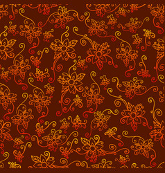 Bright exotic flowers seamless floral retro vector