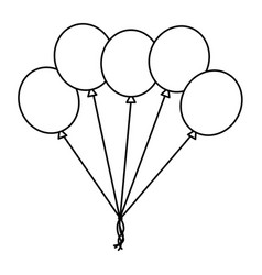 bunch balloons decoration ornament party outline vector image
