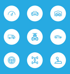 car icons line style set with steering wheel vector image