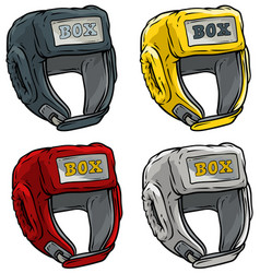 cartoon boxing sport helmet icon set vector image