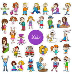 cartoon children characters big set vector image