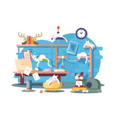 cat making mess at home vector image