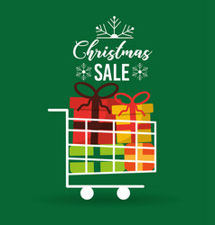 christmas sale card with shopping cart full gift vector image
