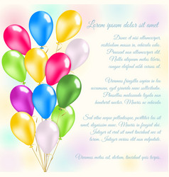 Colorful balloons invitation card vector image