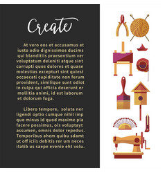 Create art club craft tools handmade production vector