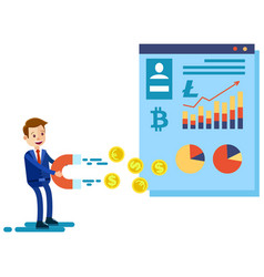 Cryptocurrency and blockchain composition with man vector