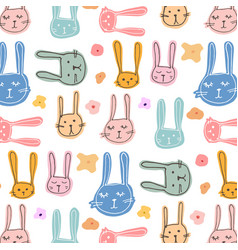 cute bunny and floral pattern background vector image