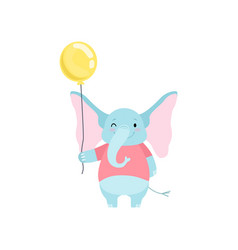cute elephant standing with yellow balloon funny vector image