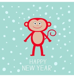 Cute red monkey on snow background happy new year vector