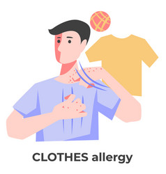 Dermatitis or clothes allergy man itching skin vector