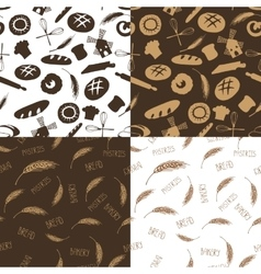 Doodle bakerybread silhouette seamless pattern vector