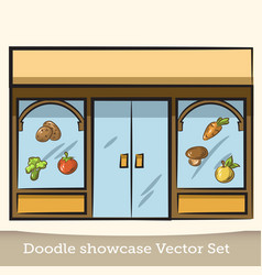 Doodle showcase food store set vector