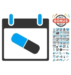 Drugs Pill Calendar Day Flat Icon With vector