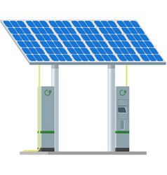 Electric car charging station with solar panels vector