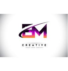 Em e m grunge letter logo with purple vibrant vector