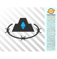 Ethereum barbwire citadel flat icon with bonus vector