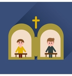 Flat icon with long shadow priest confession vector