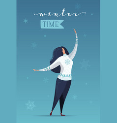Flat of woman in falling snowflakes vector