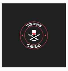 Food and drinks logo wine glass with fork and vector