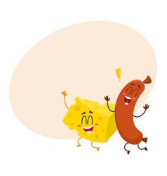 frankfurter sausage and cheese chunk characters vector image