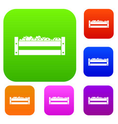 fresh vegetables in a box set collection vector image