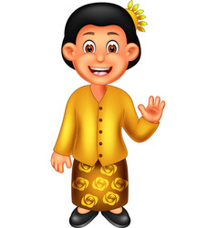 Funny girl in malay ethnic clothes cartoon vector