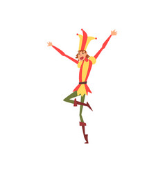 Funny medieval jester character in bright costume vector