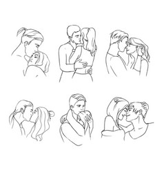 gentle young couple in love hand drawn set vector image