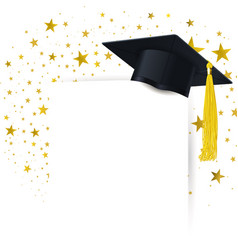Graduate cap with diploma on a background a vector
