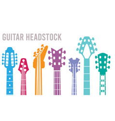 Guitar neck silhouettes music instruments vector