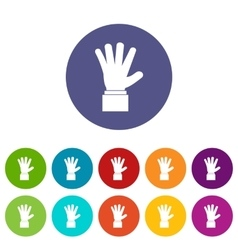 Hand showing five fingers set icons vector image