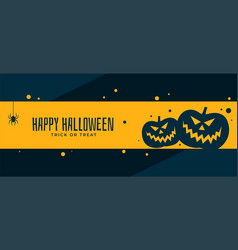 Happy halloween scary pumpkin banner design vector