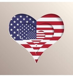 Heart with USA flag on background vector