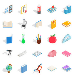 Higher educational institution icons set vector