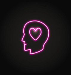 human head with heart glowing neon icon vector image