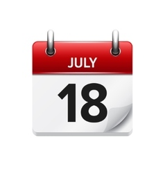 July 18 flat daily calendar icon Date vector