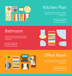 Kitchen plan and bathroom vector
