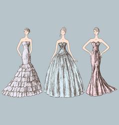 Ladies in evening dresses vector