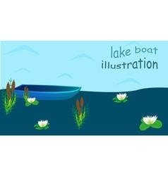 Lake boat plants water cartoon vector